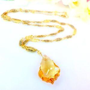 Yellow Swarovski crystal citrine gold necklace